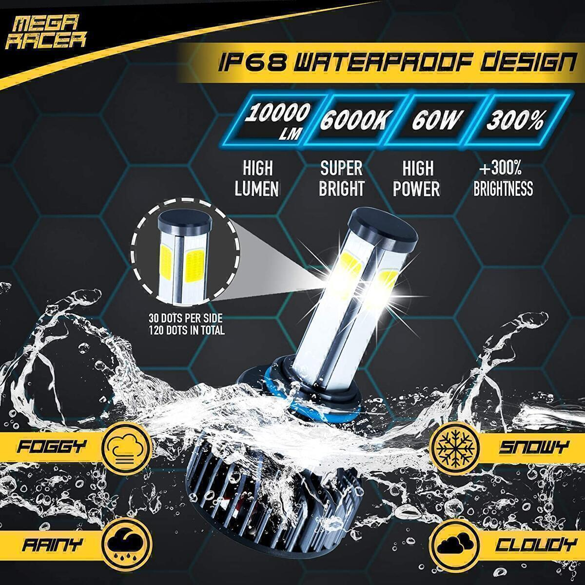 Mega Racer 4 Sided 9145/H10/9140/9155 LED Headlight Bulb - Fog Light 60 Watt 6000K Diamond White 10000 LM COB IP68 Waterproof Rating, 2 Pieces