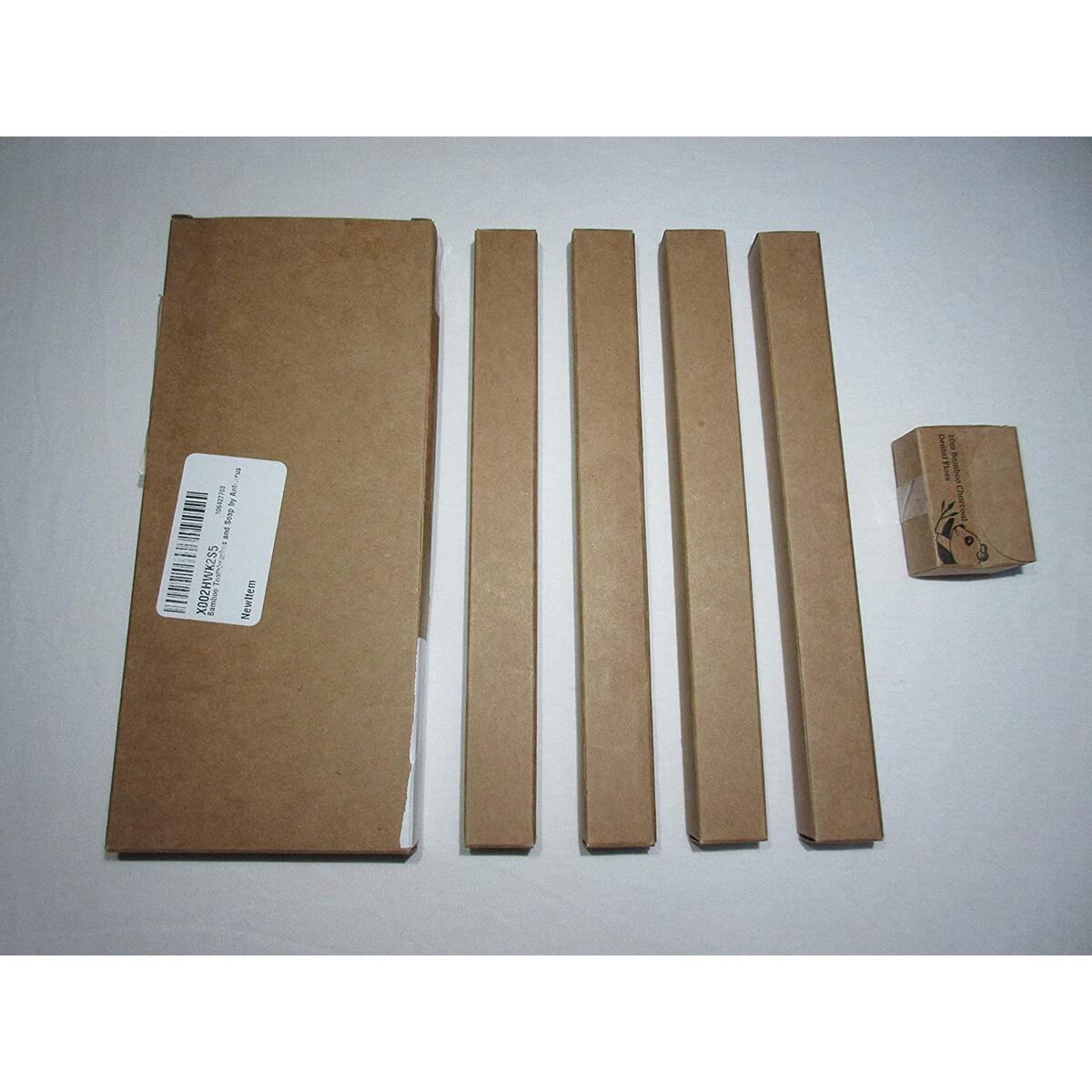 ANTIVIRUS Pack of 4 Bamboo Toothbrushes +10 Meters Dental Floss Gift