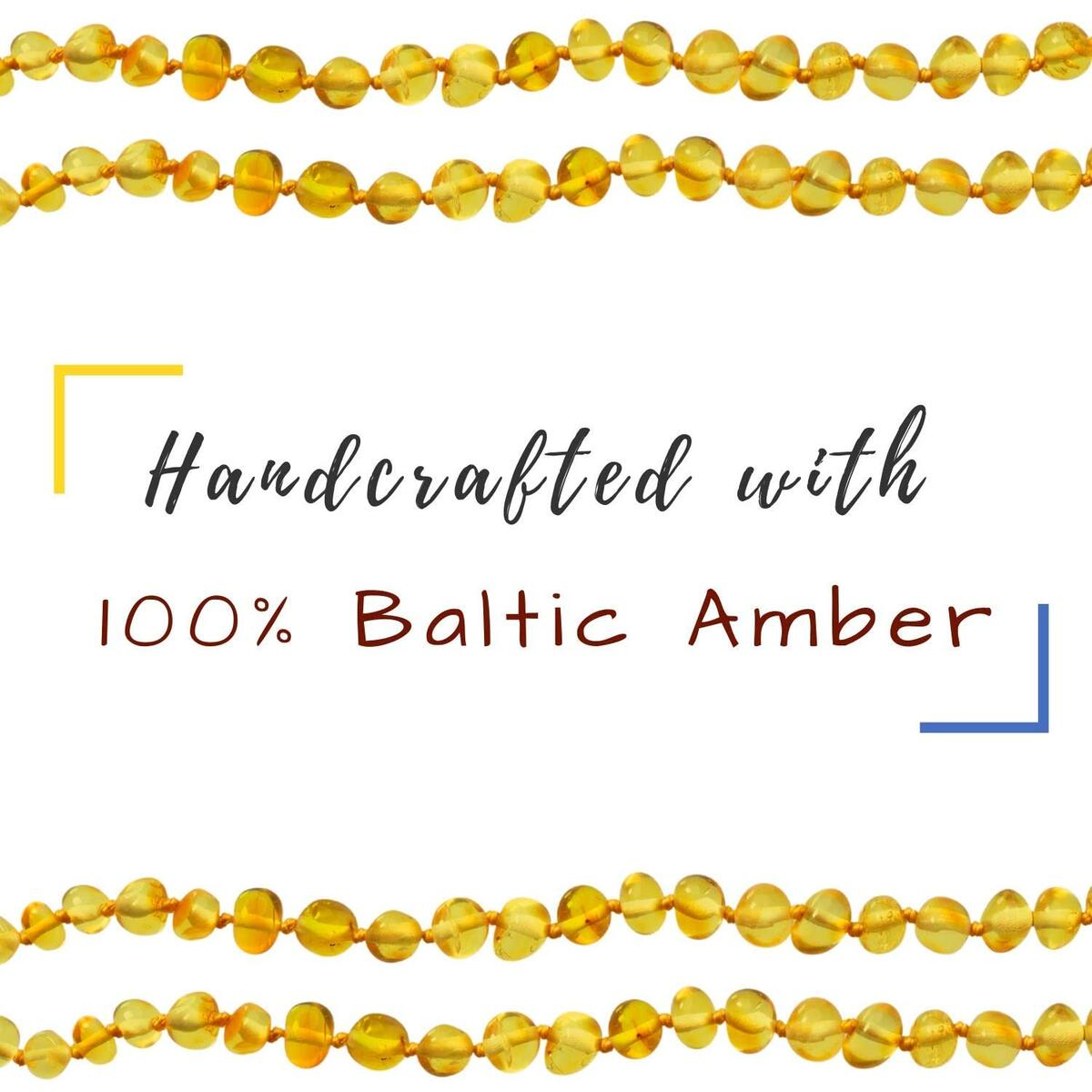 Amber Necklace, Certificated Genuine Natural Baltic Amber, Polished Amber Beads, Baltic Necklace (13 inches - Honey Baroque) by La Voile Jaune