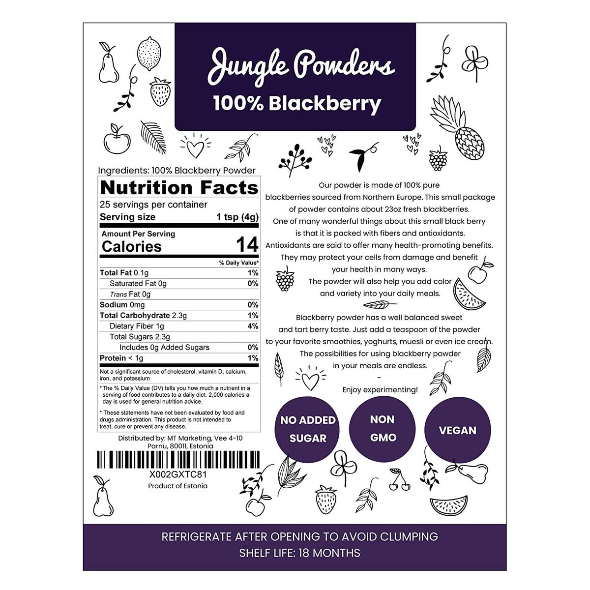 Jungle Powders Blackberry Powder | 3.5oz 100% Natural Non GMO Vegan Friendly Nordic Blackberry Extract | Freeze Dried Antioxidant Purple Superfood Concentrate