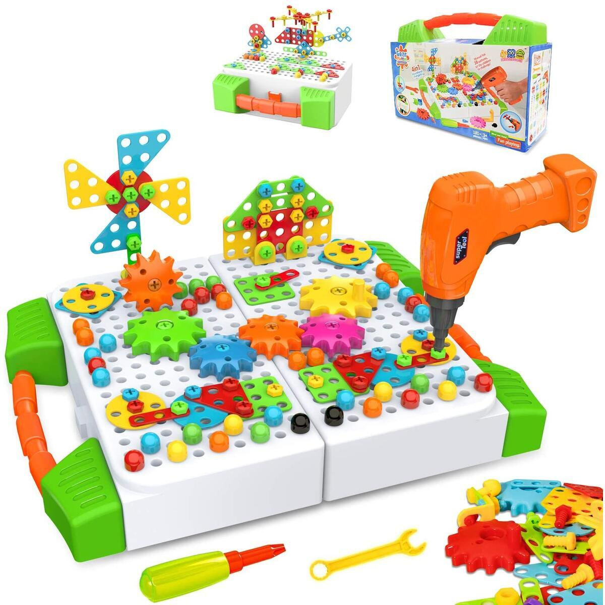BeebeeRun Educational Construction Engineering Building Blocks Learning Set, 181 Pieces Creative Building Games for Preschool Boys & Girls, Electric Drill DIY Building Toys for Kids