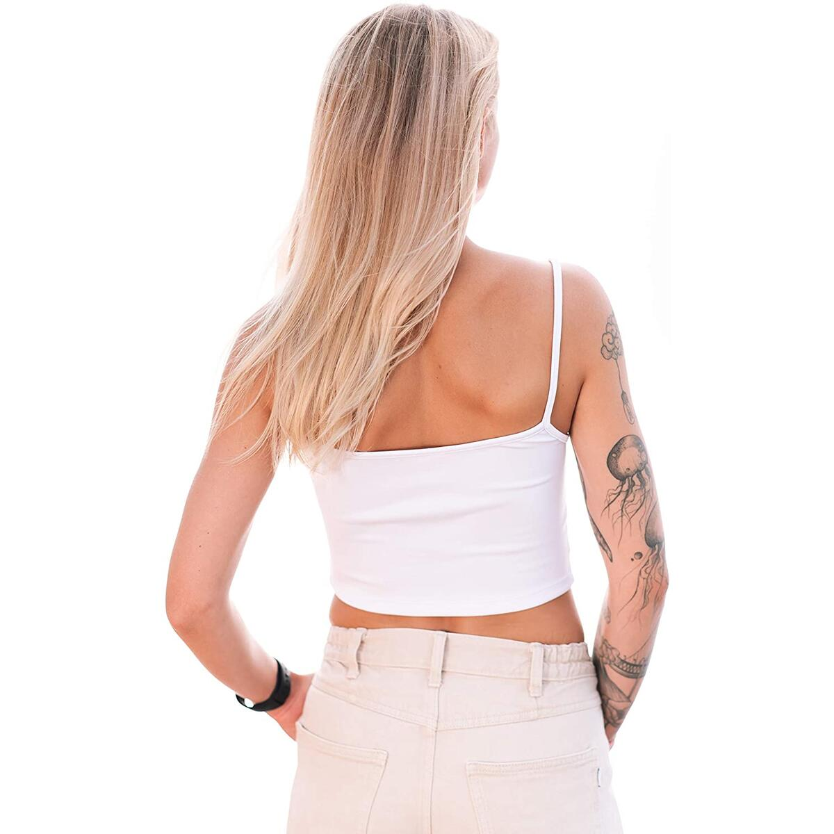 Cute White Crop Tank Top for Women Longline Casual Sleeveless Stretch Yoga Basic Spaghetti Strap (White, S)