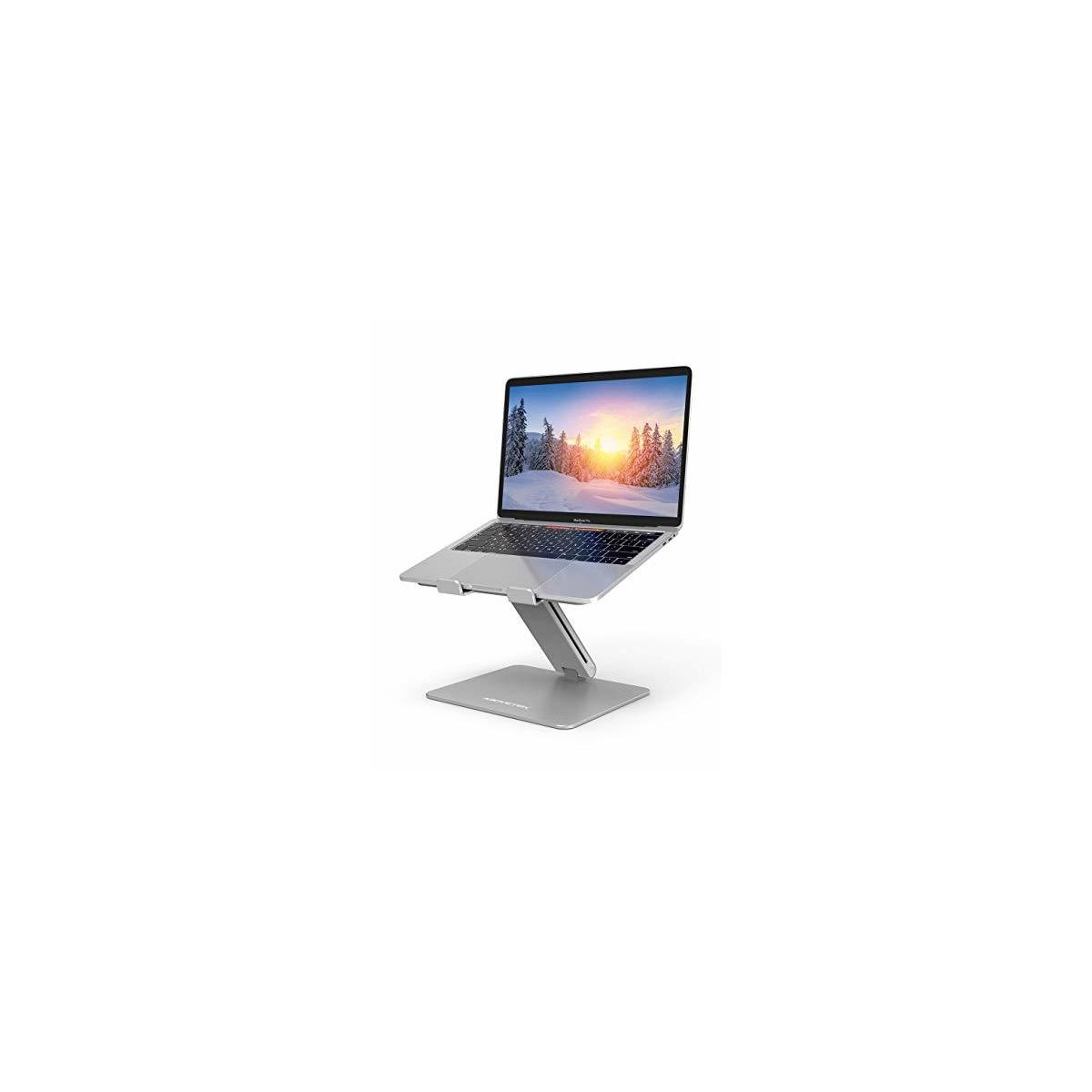 AboveTEK Laptop Stand, Adjustable Computer Riser, Compatible with Mac MacBook Pro Air Notebook, Up to 17inches, Supports Up to 44 Lbs -Silver