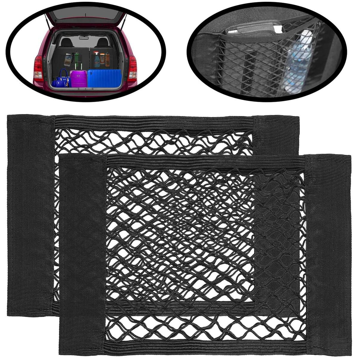 Car Storage Net Pocket Organizer, 2 Pack Mesh Stick On Cargo Storage Pouch, Bungee Netting Side Wall Sticker, Stick On String Bag For Trunk, Seat Back, Suitcases, Elastic Organizer Net Pocket