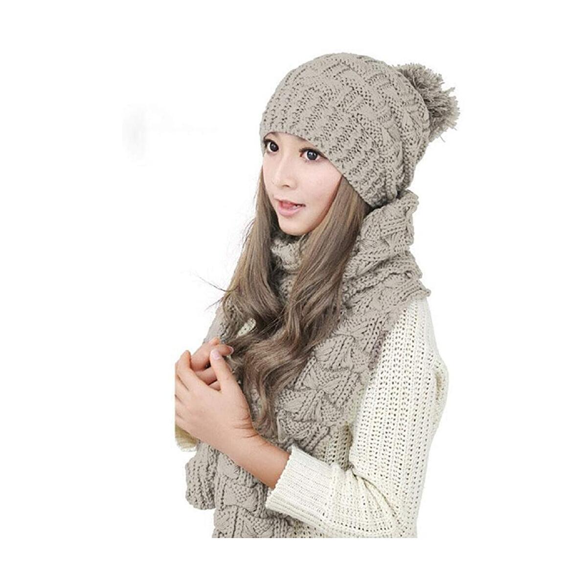D&P Women Girls Winter Warm Fashion Knitted Hat Beanie Scarf Set (Pink/Black/Grey/Cinnamon/Beige)
