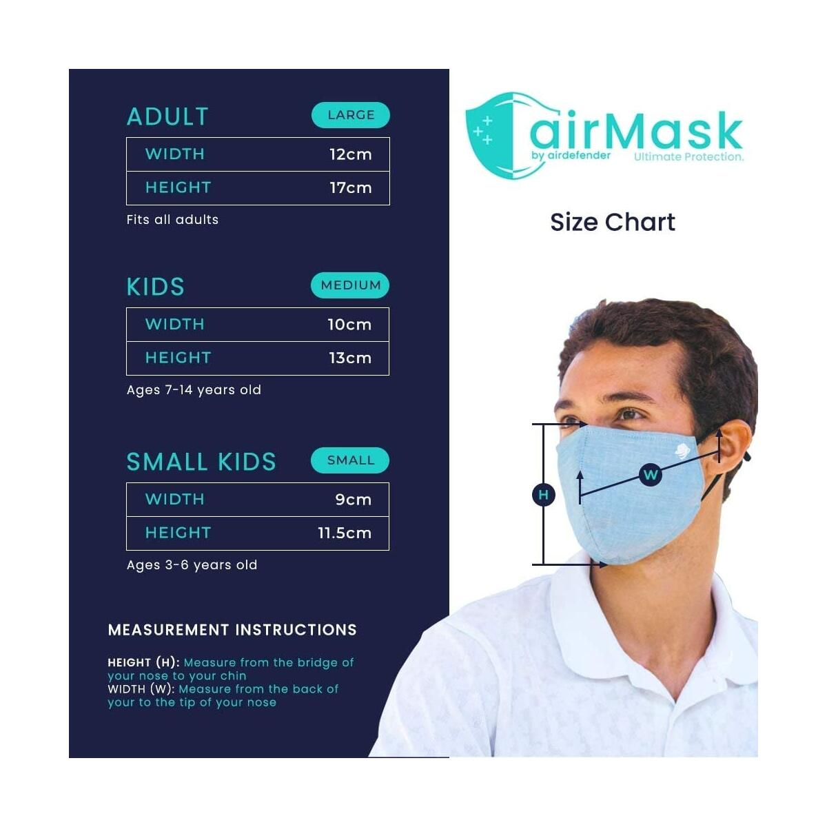 All-in-one Premium Cotton Reusable Face Masks With Filter Pocket, Ear loops and Nose Wire For Adult