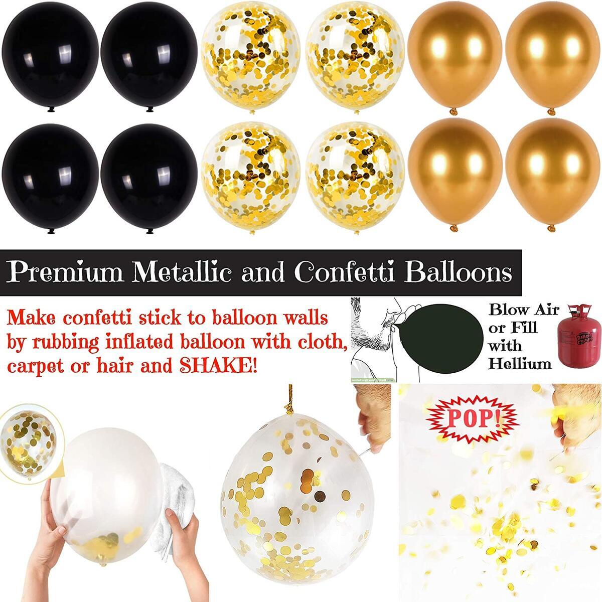 50th Birthday Party Decorations Mega Set - Gold Cheers to 50 Years Black Banner, Pom Poms, 12 Pcs Elegant Hanging Swirls for 50th Birthday Decor - 50 Years Old Milestone Supplies