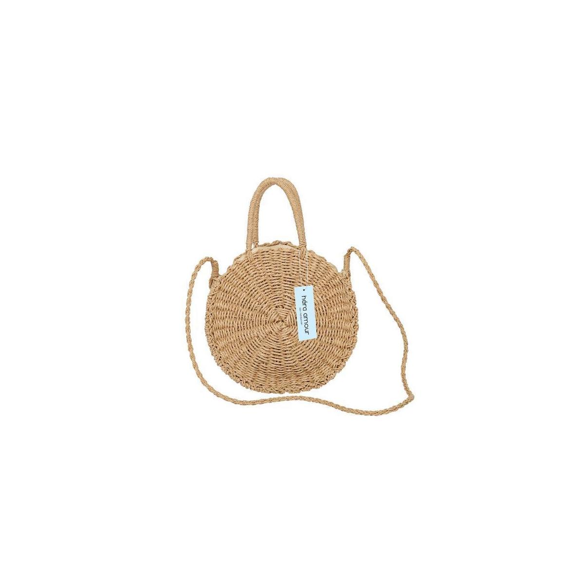 Large Straw Beach Bag with Inner Pouch  [Rebate is for Camel only, not other color]