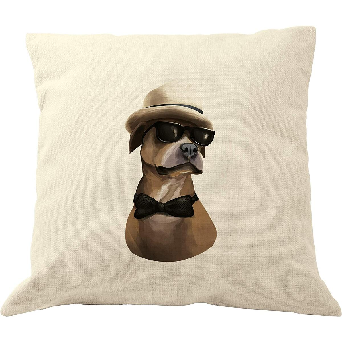 DrupsCo 18x18 Pitbull Throw Pillow Case, Cotton Linen Decorative Pitbull Throw Pillow Cover