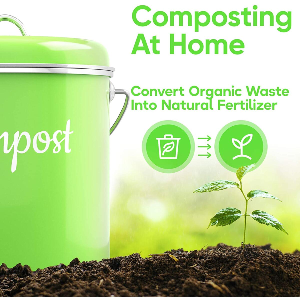 Lucky Family Green Compost Bin 1.6 Gallons