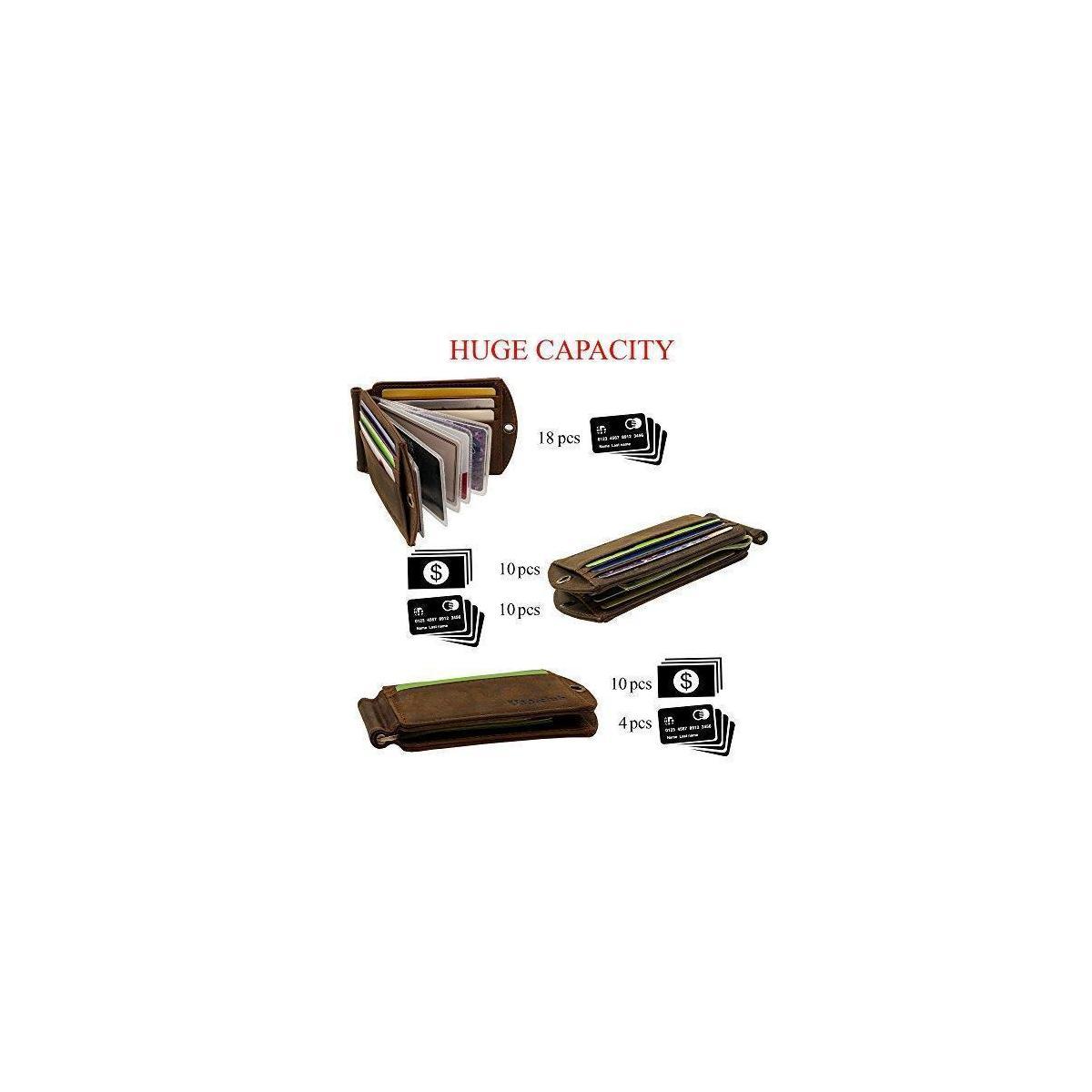 RFID Smart Blocking Slim Genuine Leather Thin Minimalist Front Pocket EDC Wallets for Men with Money Clip