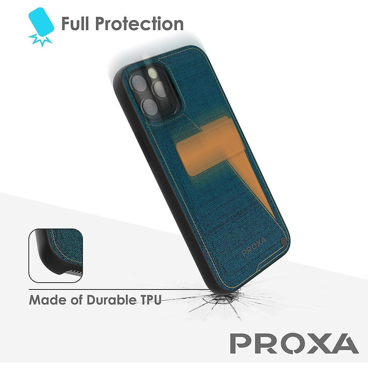 PROXA iPhone 12 / iPhone 12 Pro Rotational Wallet Case with Hidden Card Holder Slot- Cover with Shockproof TPU & Hard PC [Protective/Scratchproof]-for Apple iPhone 12/12 Pro 6.1 inch- Pacific Blue
