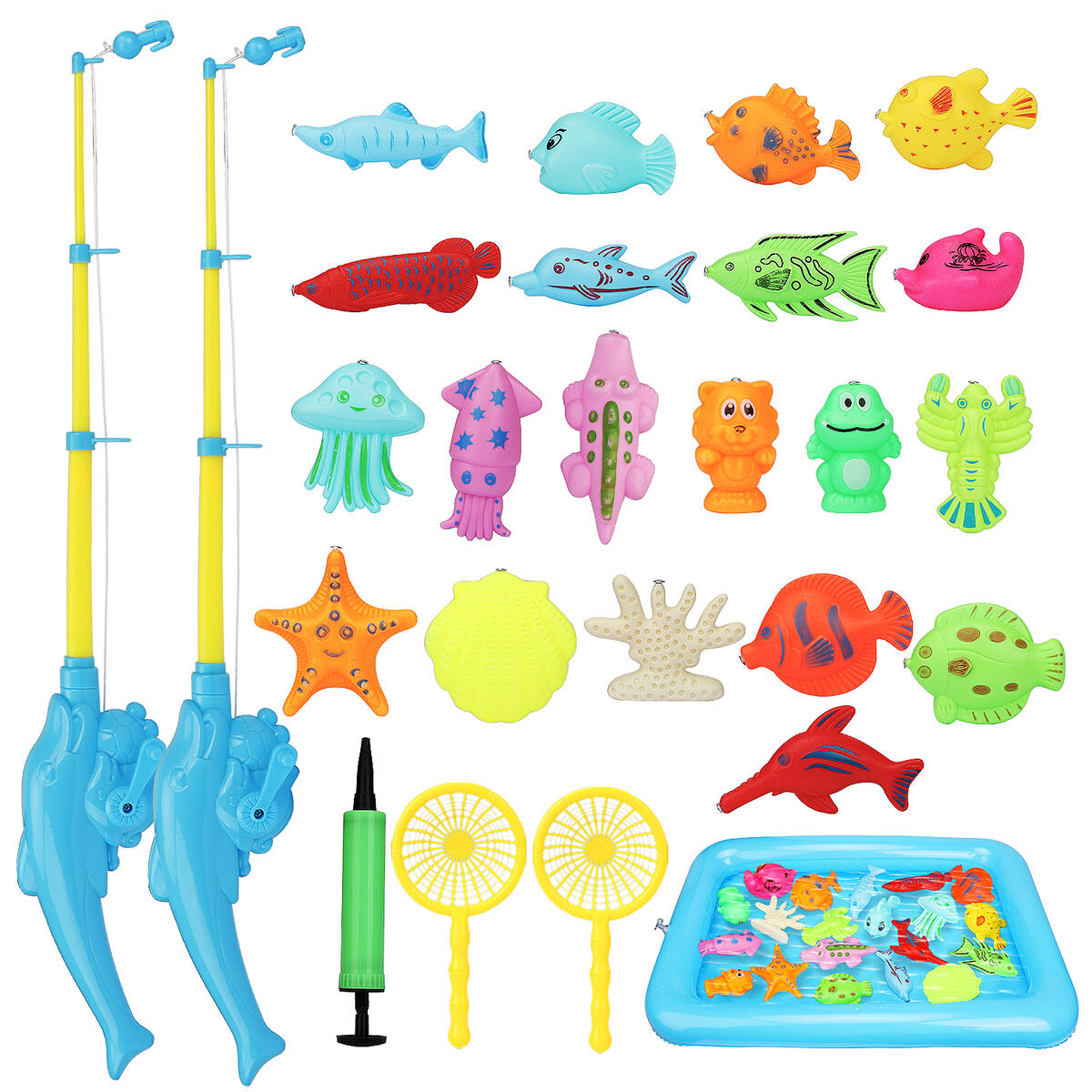 Kids Magnetic Fishing Game - with Magnetic Kids Fishing Pole, Floating Toy Fish, and Inflatable Play Area - Outdoor Fishing Toys - Bath Toy for 3 4 5 Boys Girls Toddlers