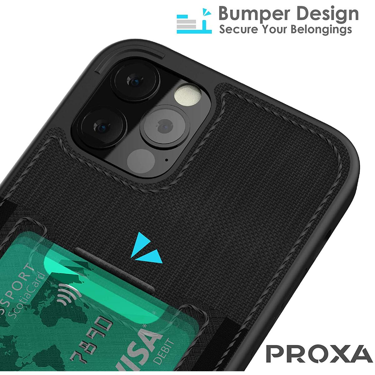 PROXA iPhone 12 Pro Max Slim Card Case - Wallet Case with Card Holder Slot-Cover [Protective & Scratchproof]-for Apple iPhone 12 Pro Max 6.7 inch- Classic Black