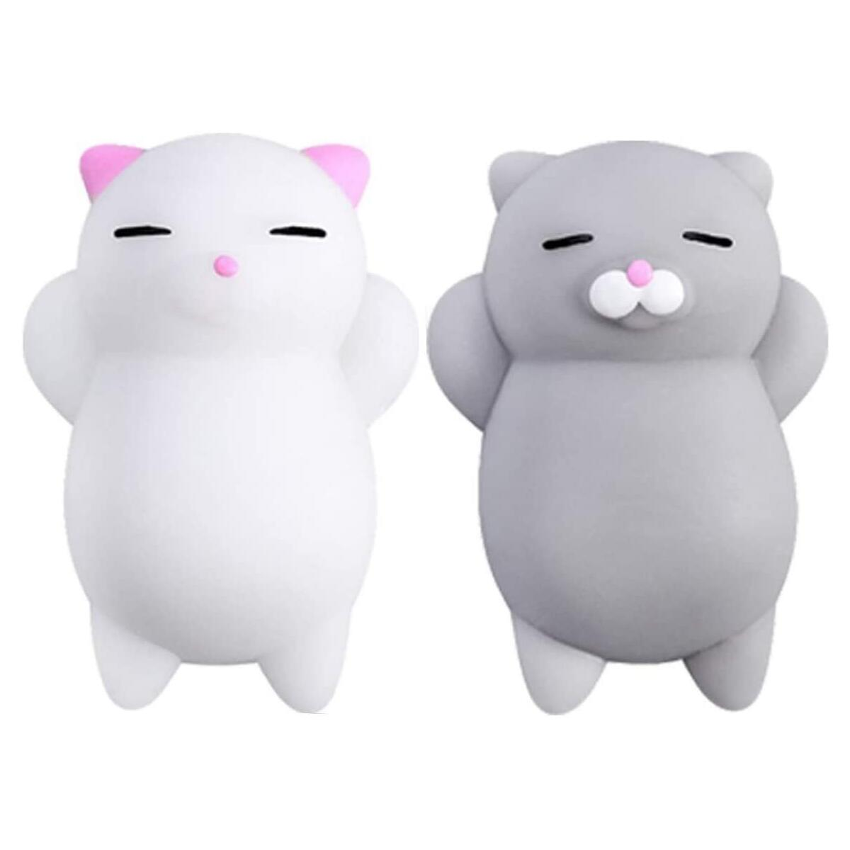 Squishy Cat Set - 2 Soft Silicone Kawaii Kitties, Unique Easter Gift Idea for Kids & Adults, Best Teen Girls, Boys & Tweens Birthday Present & Top Stress Relief Fidget 2020