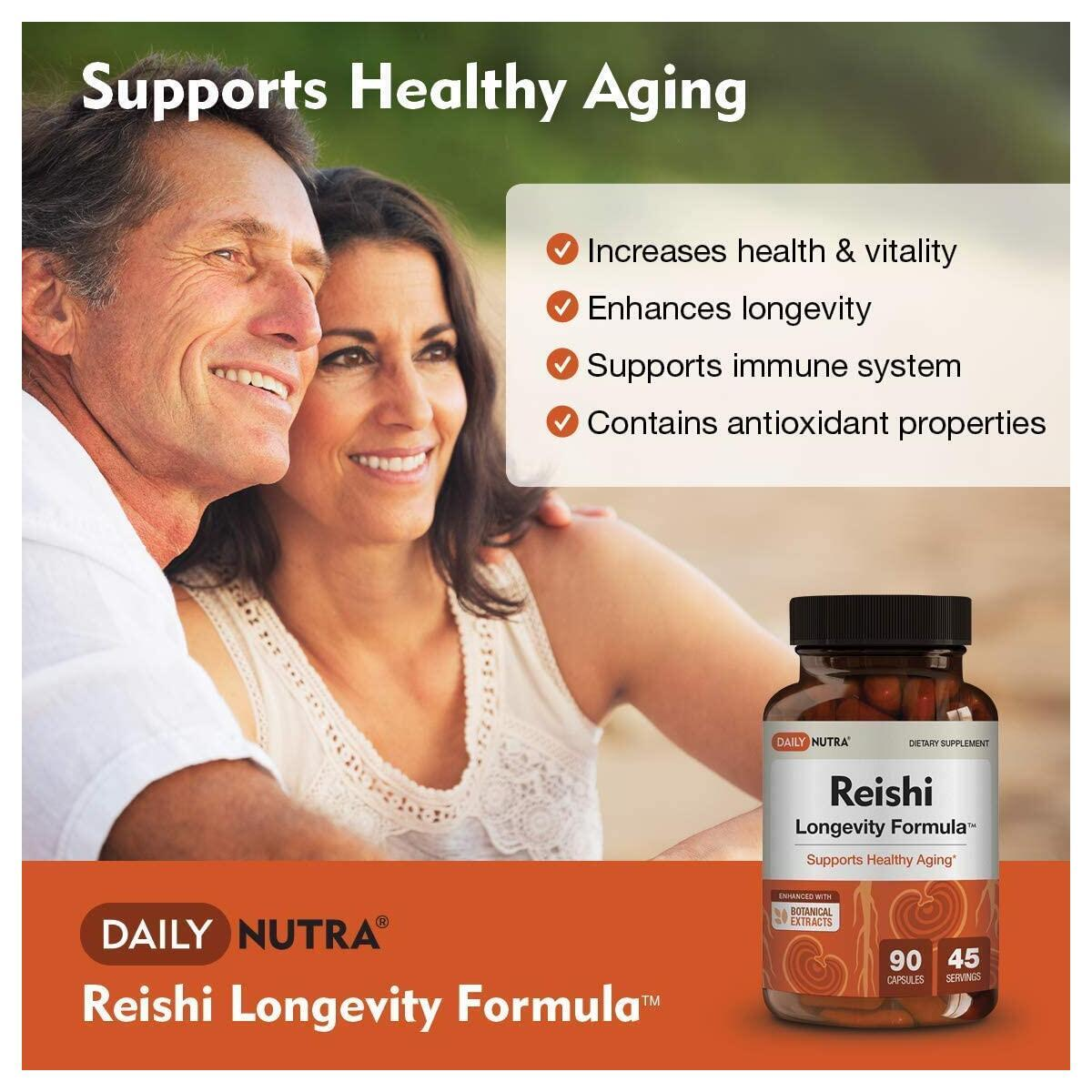 Reishi Longevity Formula by DailyNutra - Anti-Aging Supplement | Organic Reishi Mushroom Extract with KSM-66 Ashwagandha and Astragalus (90 Capsules)