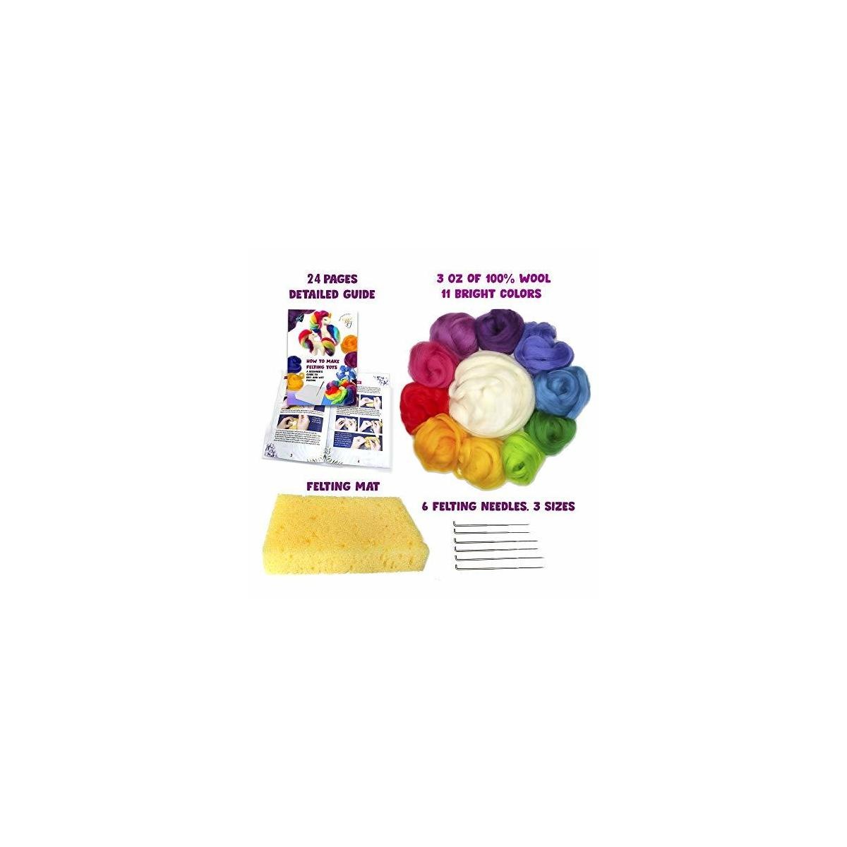 Needle Felting Kit : Felting Needles, Wool Roving, Felting Pad, Detailed Guide - Make 3+ Rainbow Unicorns and 10+ Flowers - Felting Art Kit - DIY kit Felting Supplies Craft Kit for Girls and Moms