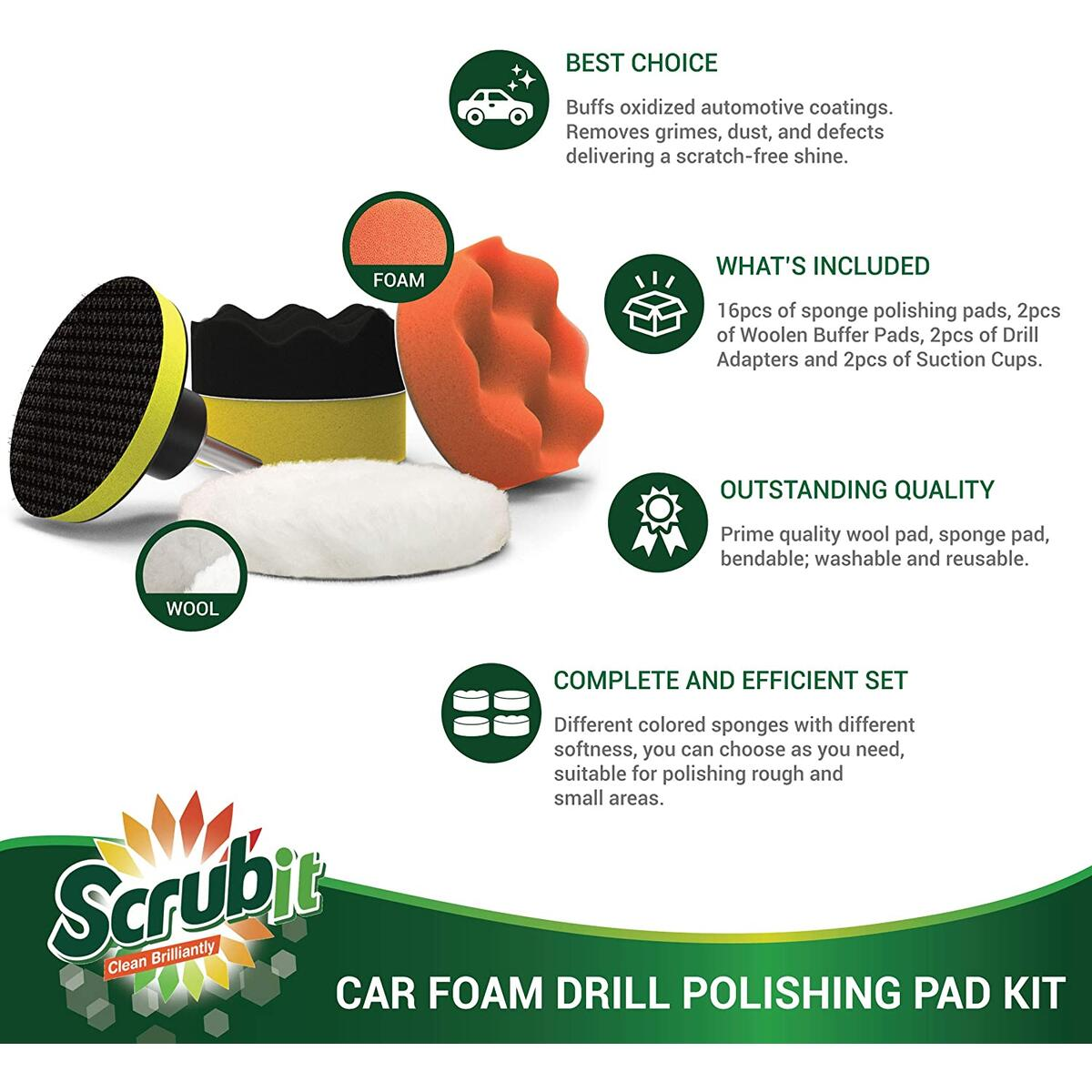 SCRUBIT Car Foam Drill Polishing Pad Kit 22 Pack, Includes 16 Detailing Sponges (3 in.), 2 Wool Buffer Pads, 2 Drill Adapters and Suction Cups for Your Vehicle - Waxing and Polisher Set
