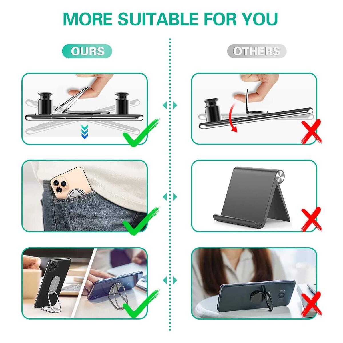 Foldable Cell Phone Stand for Desk, Adjustable Cellphone Ring Holder Finger Kickstand for Office Desktop & Magnetic Car Mount, Rotatable Multi-Angle Hand Grip for iPhone and All Smartphones Back Case