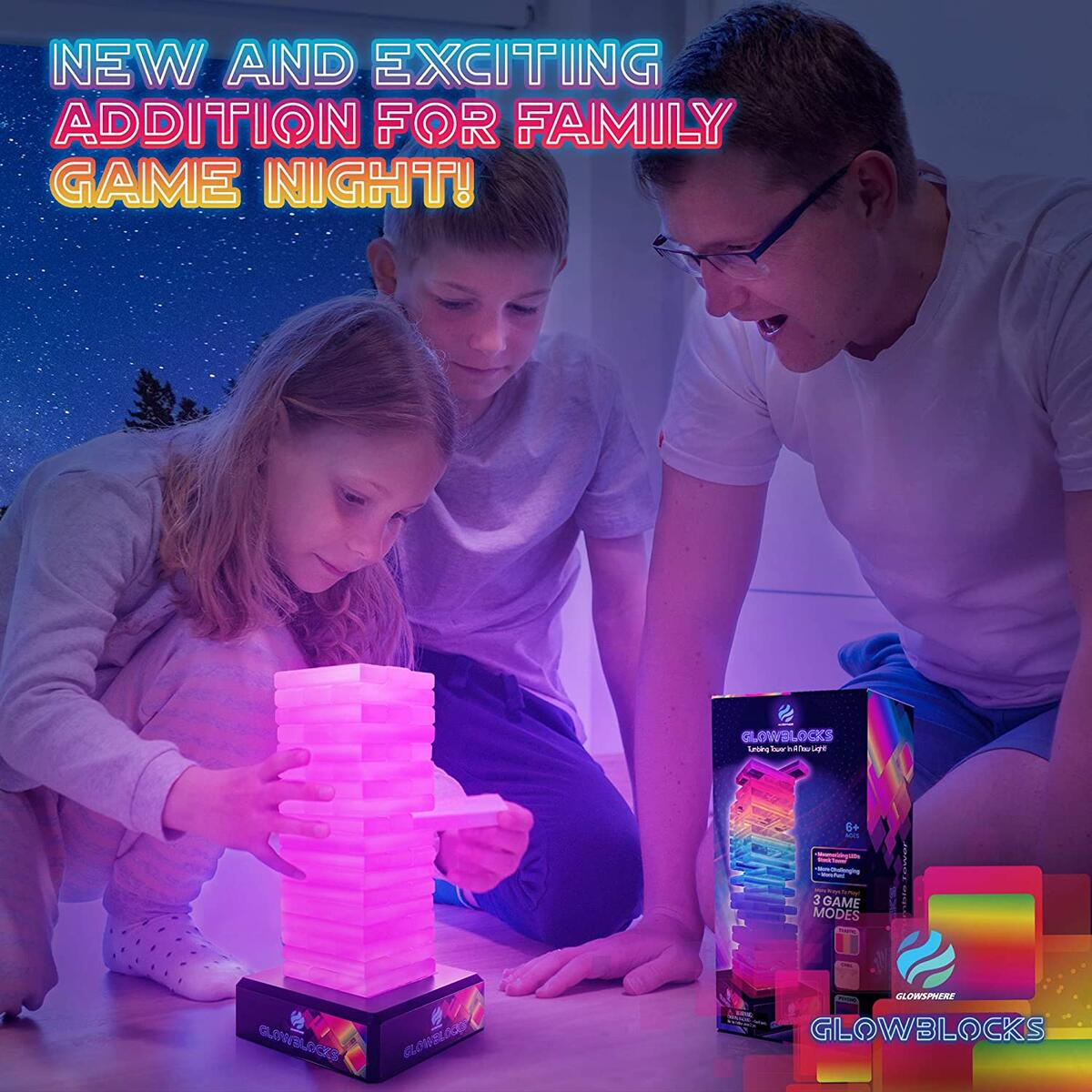 Glowblocks Light-Up Tumbling Tower Game