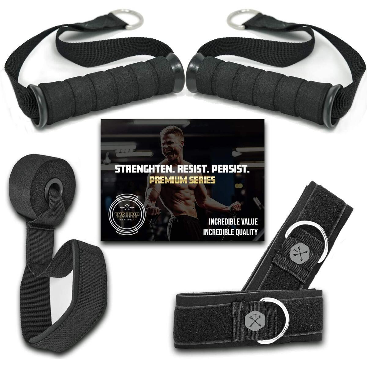 Tribe Resistance Bands Accessories Equipment System for Home Gym, Exercise, Workout, Tube Bands & Cable Machines. Ankle Straps, Door Anchor, Handles & Clips. Heavy Duty Handle & Strap Attachments