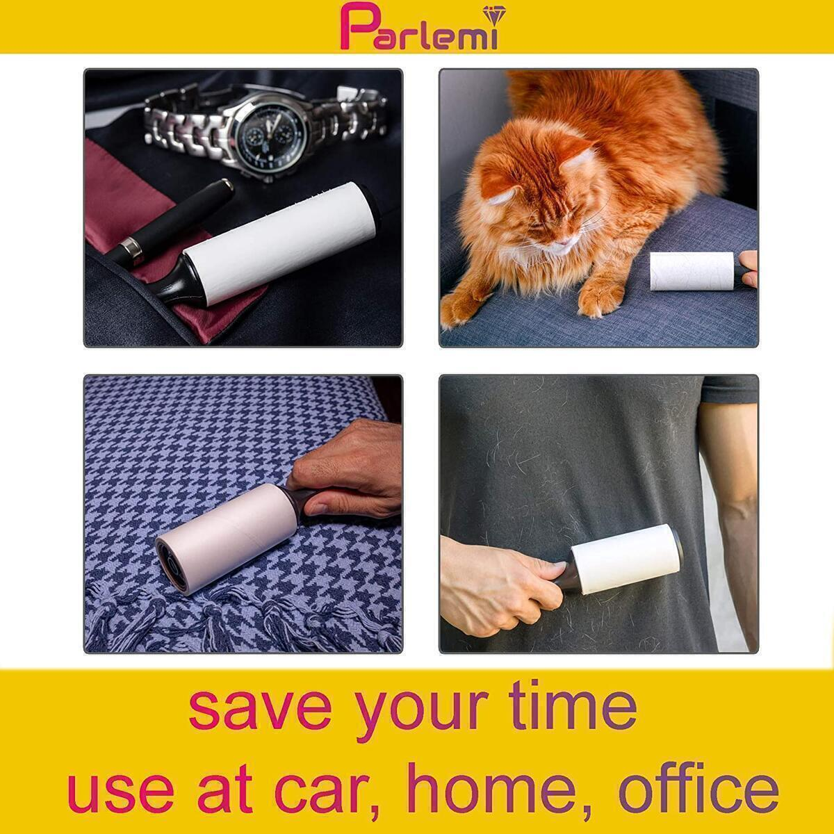 Parlemi Lint Rollers for Pet Hair Extra Sticky - (2 Handles, 4 Refills - 240 Sheets) - Lint Brush Pet Hair Remover - Cat, Dog Hair Lint Roller - Clothes, Furniture, Carpet, Floor Dust and Fuzz Remover