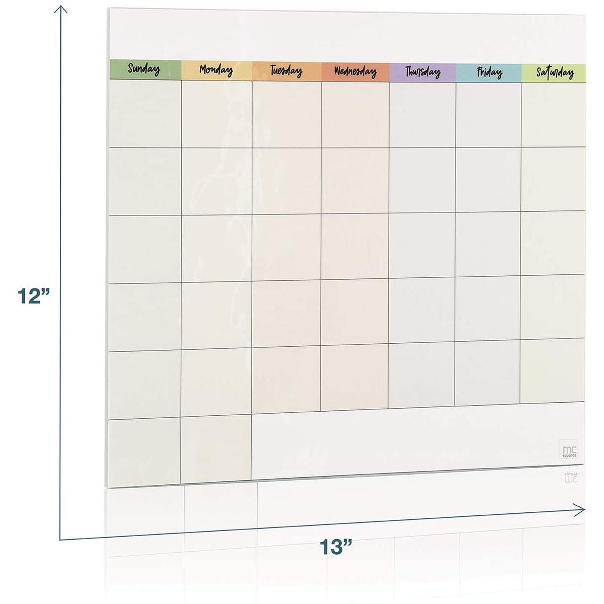 mcSquares Stickies Dry-Erase Bright Calendar with Tackie Marker - Sticks to Stainless Steel (Any Shiny Surface) - 12x13 Monthly Wipe Off Whiteboard for Refrigerator, Mirror, Desk, and Glass…