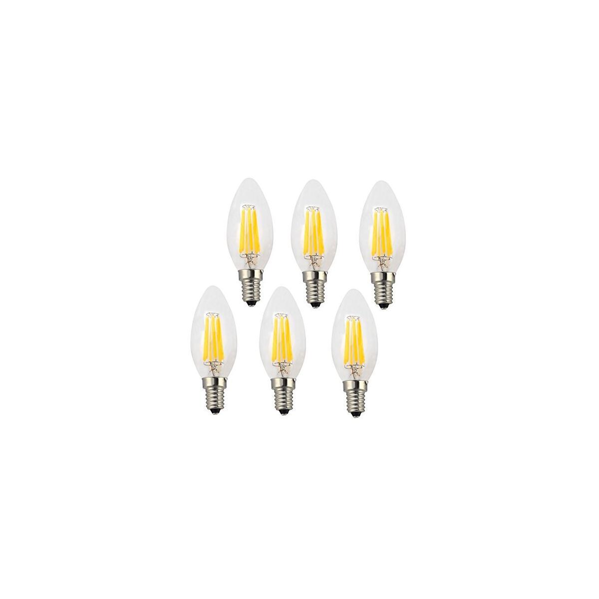 LED E12 Candelabra 4 Watt Equivalent To 40 Watt 2700K Filament Light Bulb (Torpedo Tip - 6 Pack)