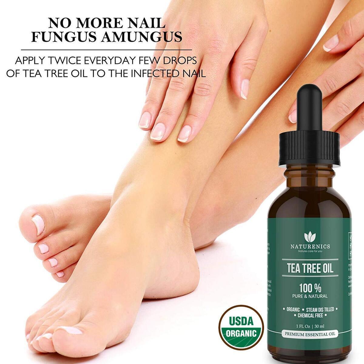 Naturenics Premium 100% Organic Tea Tree Essential Oil -Undiluted Pure USDA Certified Melaleuca Alternifolia Therapeutic Grade - For Toenail Fungus & Acne Treatment - Roll On & eBook