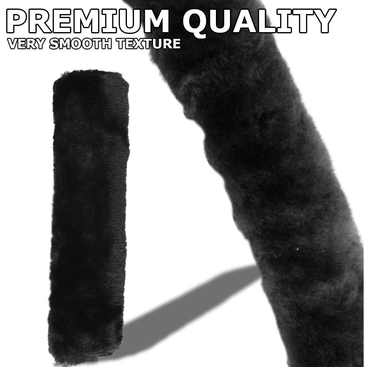 VaygWay Faux Fur Seatbelt Cover – Soft Sheepskin Car Belt Cover – Shoulder Pad and Neck Cushion – Bag Backpack Laptop Strap Cover – Black Sheepskin Furry 4 Pack