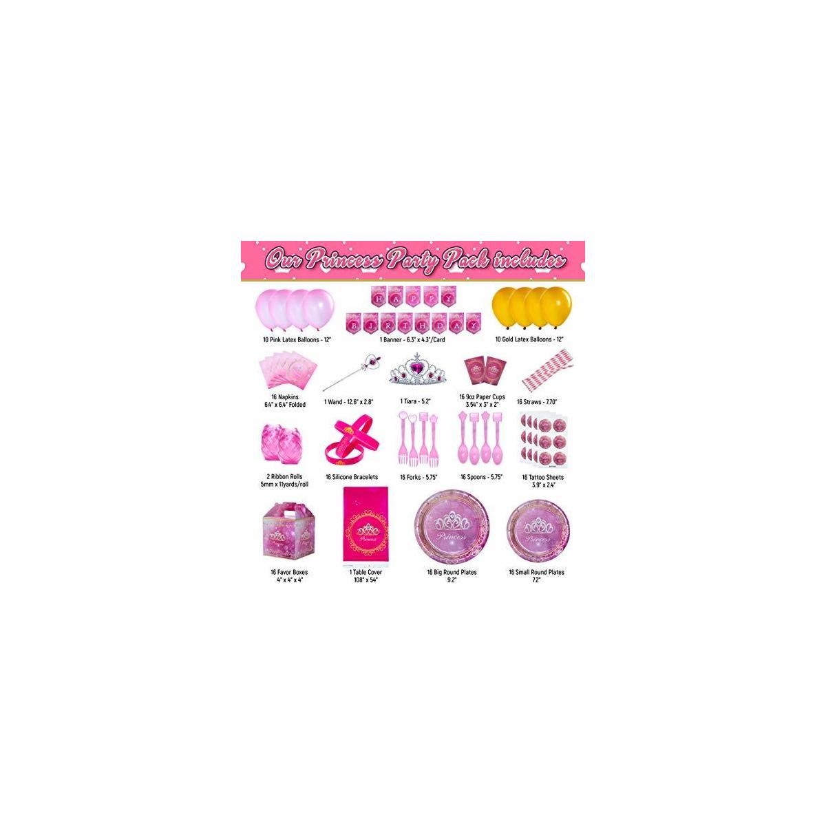Kidohub Princess Birthday Party Supplies 186 Pcs