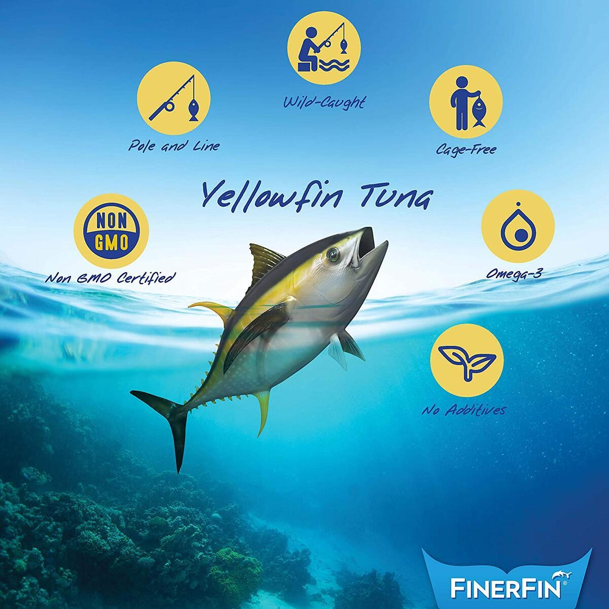 FinerFin Yellowfin Tuna In Organic Olive Oil – Mexicana Salad Flavor (4.4oz can - 6 Pack); Premium Canned Fish with EVOO, Gourmet Ready-to-Eat Fillets, Wild-Caught