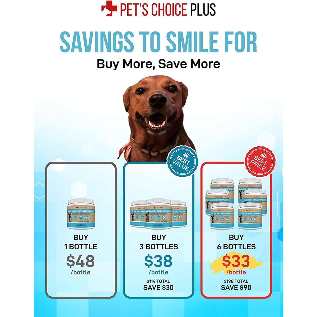 Pet's Choice Plus Daily Calming Chewable Supplement – Stress, Anxiety, Good Behavior – Thiamine, L-Tryptophan, Lemon Balm Herb, Green Tea