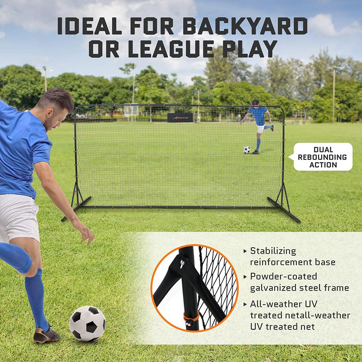ACELETIQS Soccer Rebounder 6x12 Feet Practice Training Net | Portable, Easy Assembly, Steel Frame | Perfect for Practicing Backyard Volley, Solo Training,Kickback, Passing, Pitchback