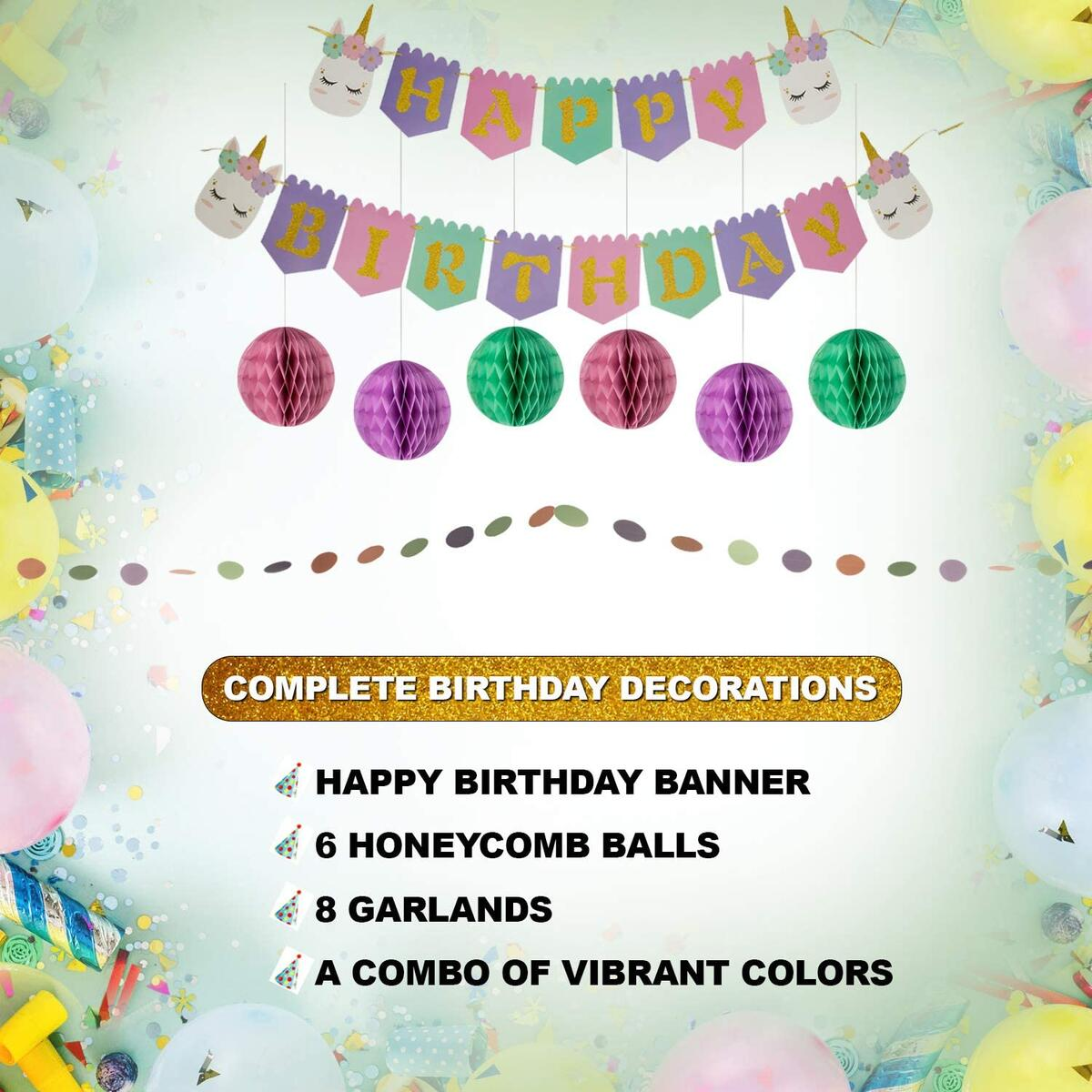 Artistrend Unicorn Happy Birthday Banner Set | Girls B-Day Party Decorations Backdrop with Colorful Sign Honeycomb Balls Swirls Streamers | Its Time for an Unforgettable Birthday Celebration