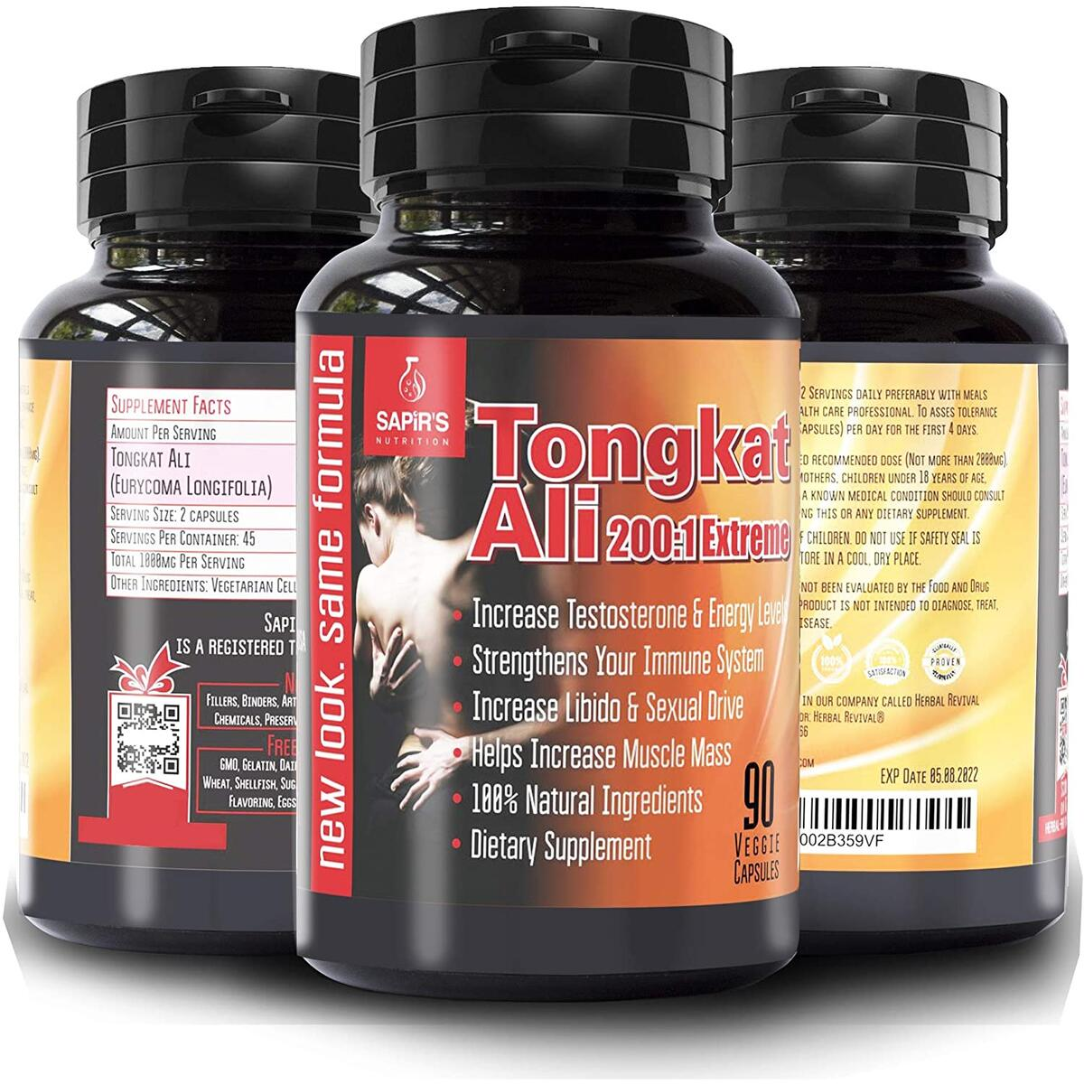Longjack Tongkat Ali for Men – Natural Testosterone Booster for Men Muscle Growth, 200:1 3000mg 90 Eurycoma Longifolia Capsules, Male Libido Booster for Men Stamina, Increases Energy and Blood Flow