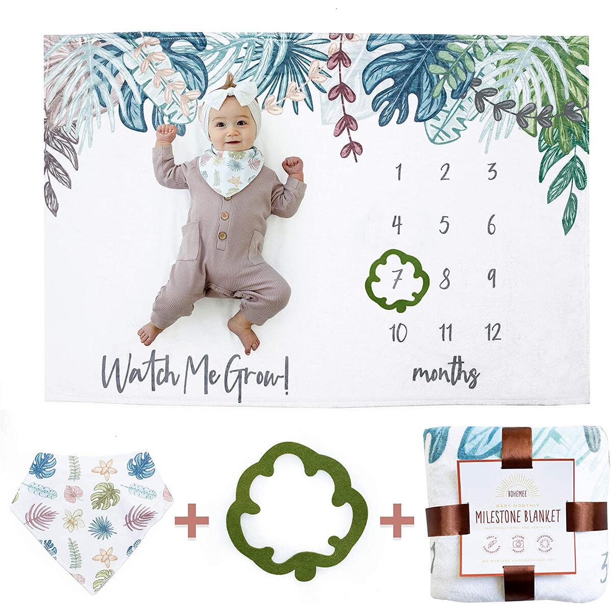 BOHEMEE Baby Milestone Blanket. Boho Photo Blanket with Baby Bandana Bib and Baby Month Blanket Leaf Indicator. Baby Monthly Milestone Blanket Boy and Newborn Baby Girl Stuff. Unisex Age Growth Chart