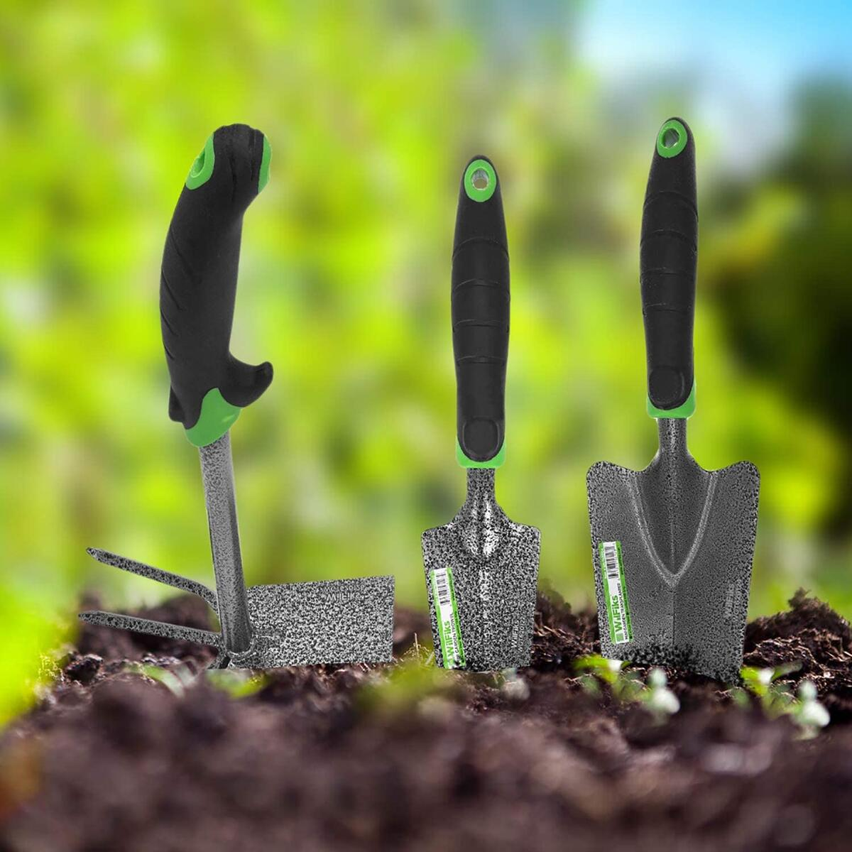 Garden Tool Set, 3 Piece Heavy Duty Hand Tools, The Gardening Kit Includes A Hand Trowel, Transplanter and A Hoe and Cultivator Combo, Bend Proof Garden Work Tools with an Ergonomic Handle