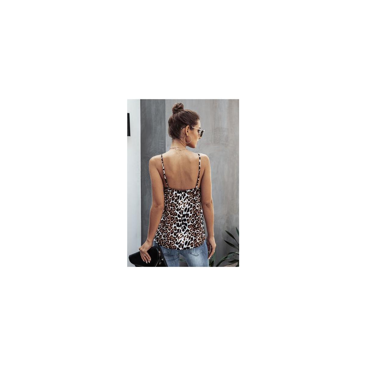Women's Sexy Leopard Print Cami Dressy Spaghetti Straps Tank Top