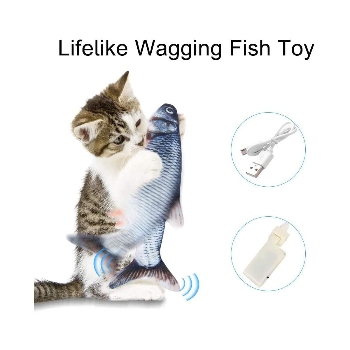 ILamourCar Simulation Fish Toy for Cats, Realistic Plush Simulation Electric Wagging Fish Cat Kicker Toy, Funny Interactive Pets Pillow Chew Bite Kick Supplies for Cat Kitten Kitty - Carp