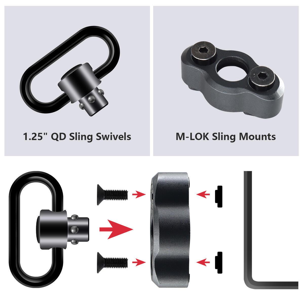 QD Sling Swivel, M-lok Sling Mount, QD Quick Detach/Release 1.25