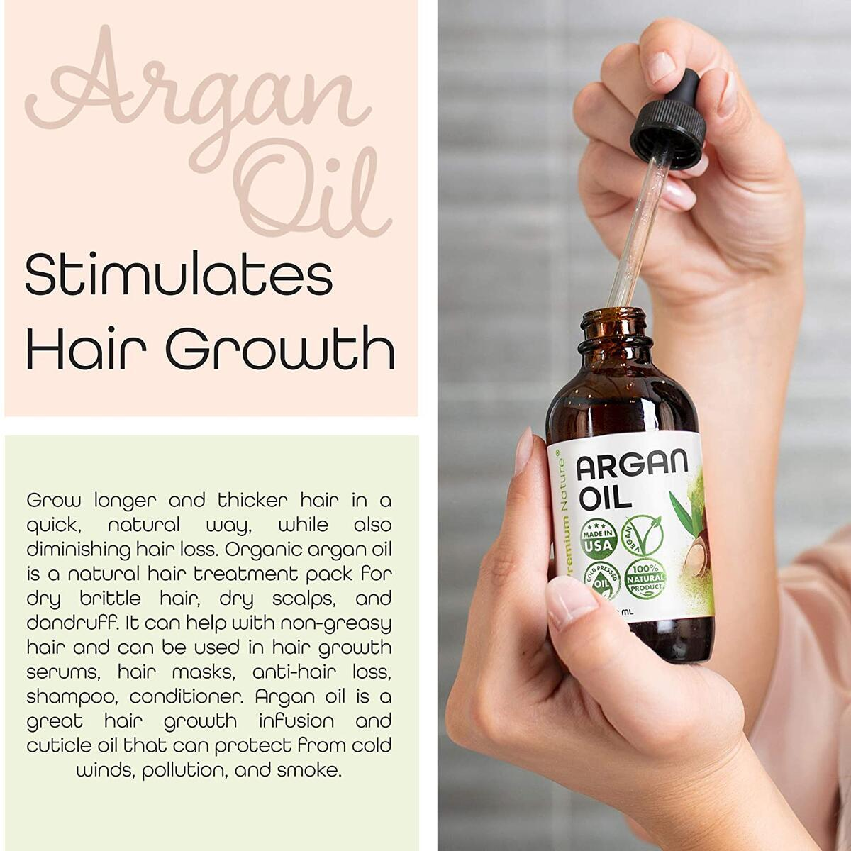 Argan Oil Organic, Virgin, 100% Pure, Cold Pressed Argon Oil Serum For Hair Stimulate Growth for Dry and Damaged Hair. Argan Oil for Skin Body Moisturizer. Nails Protector 4 oz