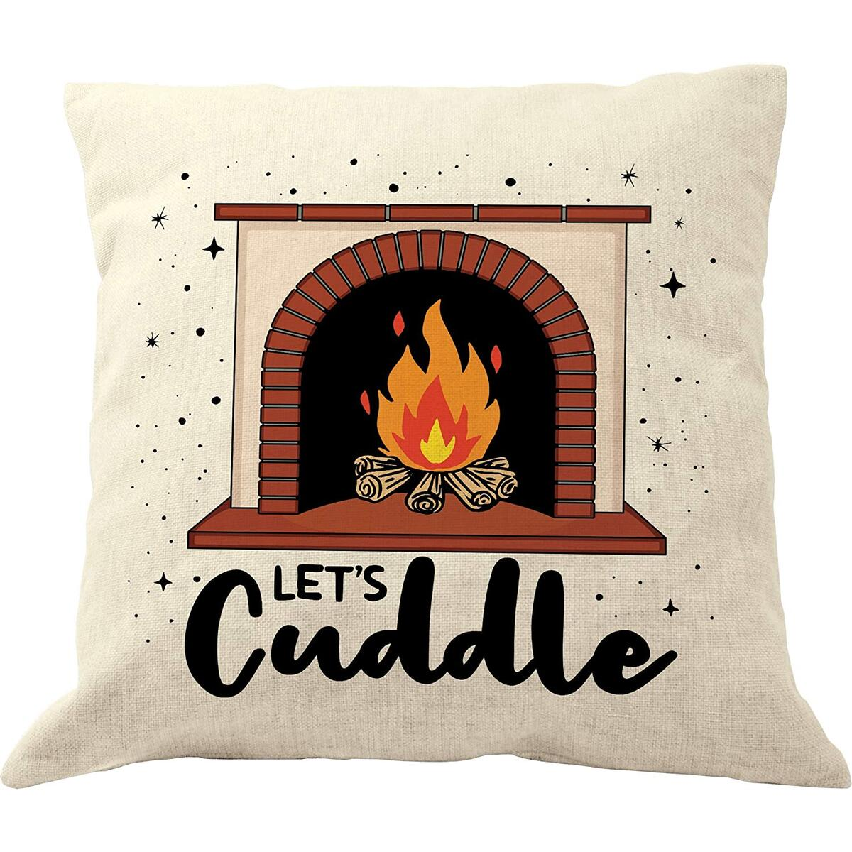 DrupsCo Let's Cuddle Pillow - 18 x 18 Let's Cuddle Pillow Cover - Let's Cuddle Throw Pillow