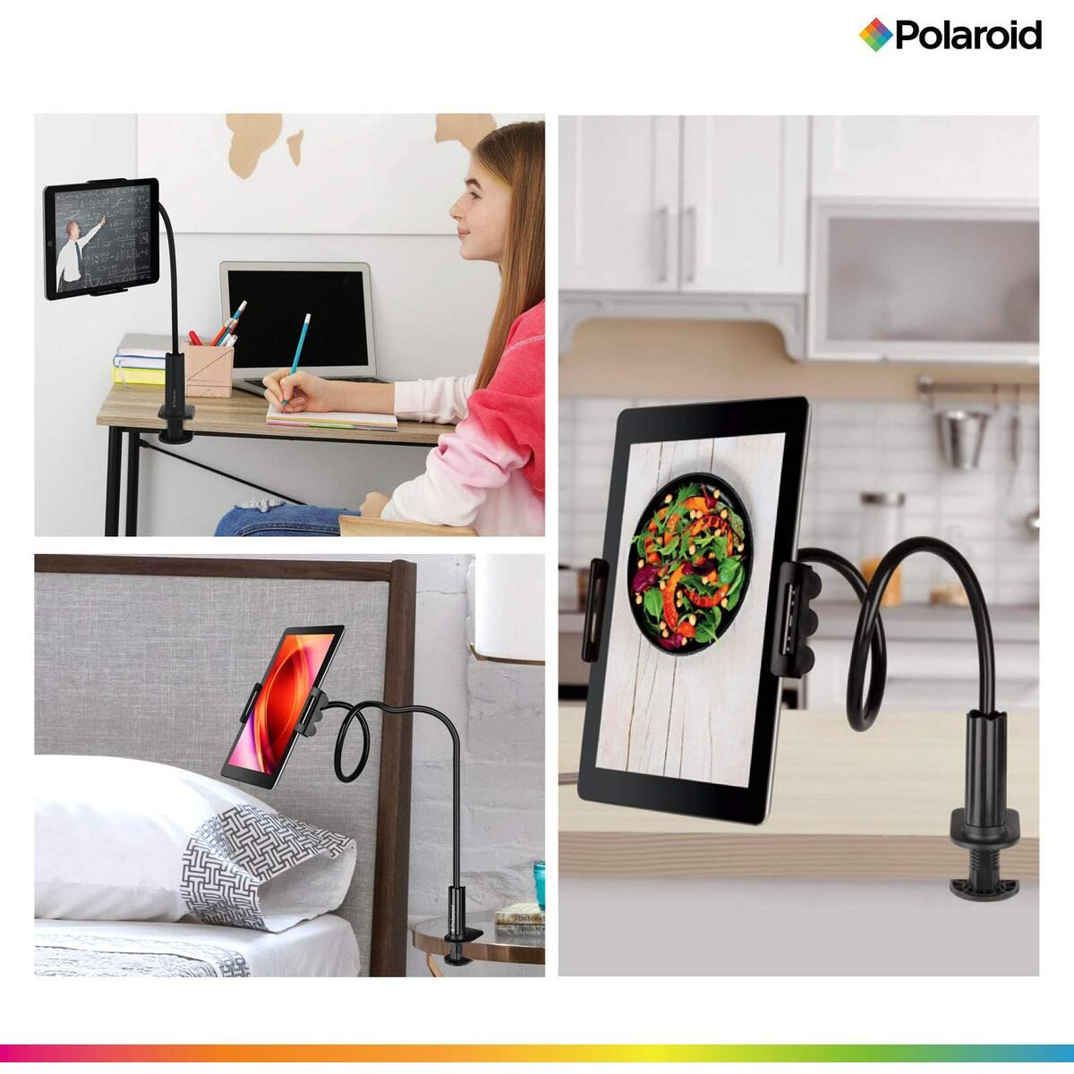 Polaroid Gooseneck Tablet or Phone Holder with Secure Clamp and Table Grip Stand - Fits All Devices Between 4.5
