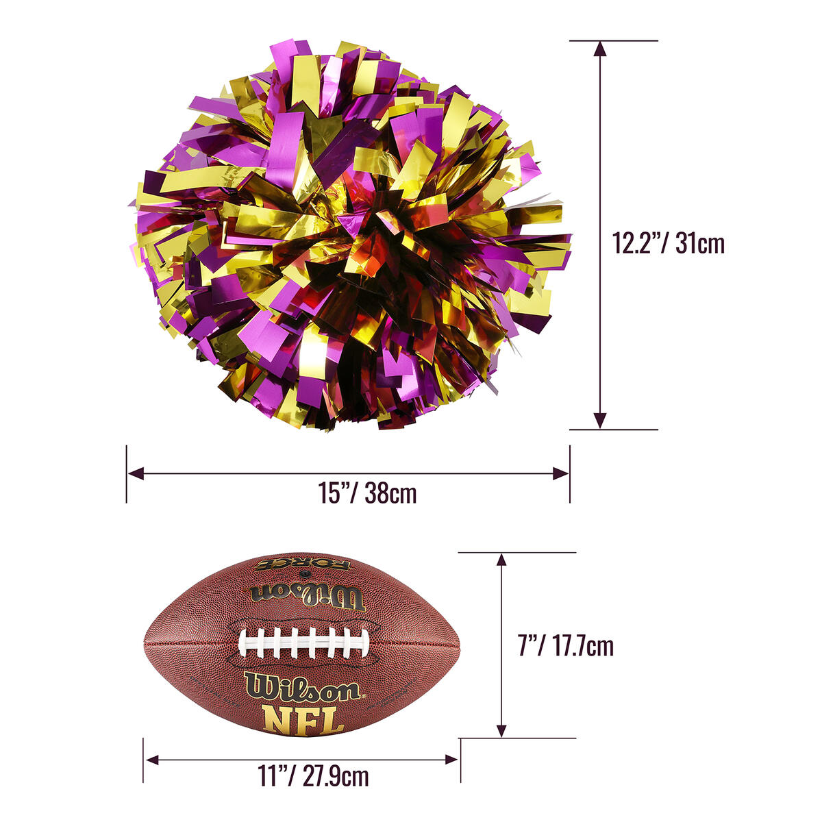 Metallic Pom Poms Cheerleading with Baton Handle and Holder (PINK)