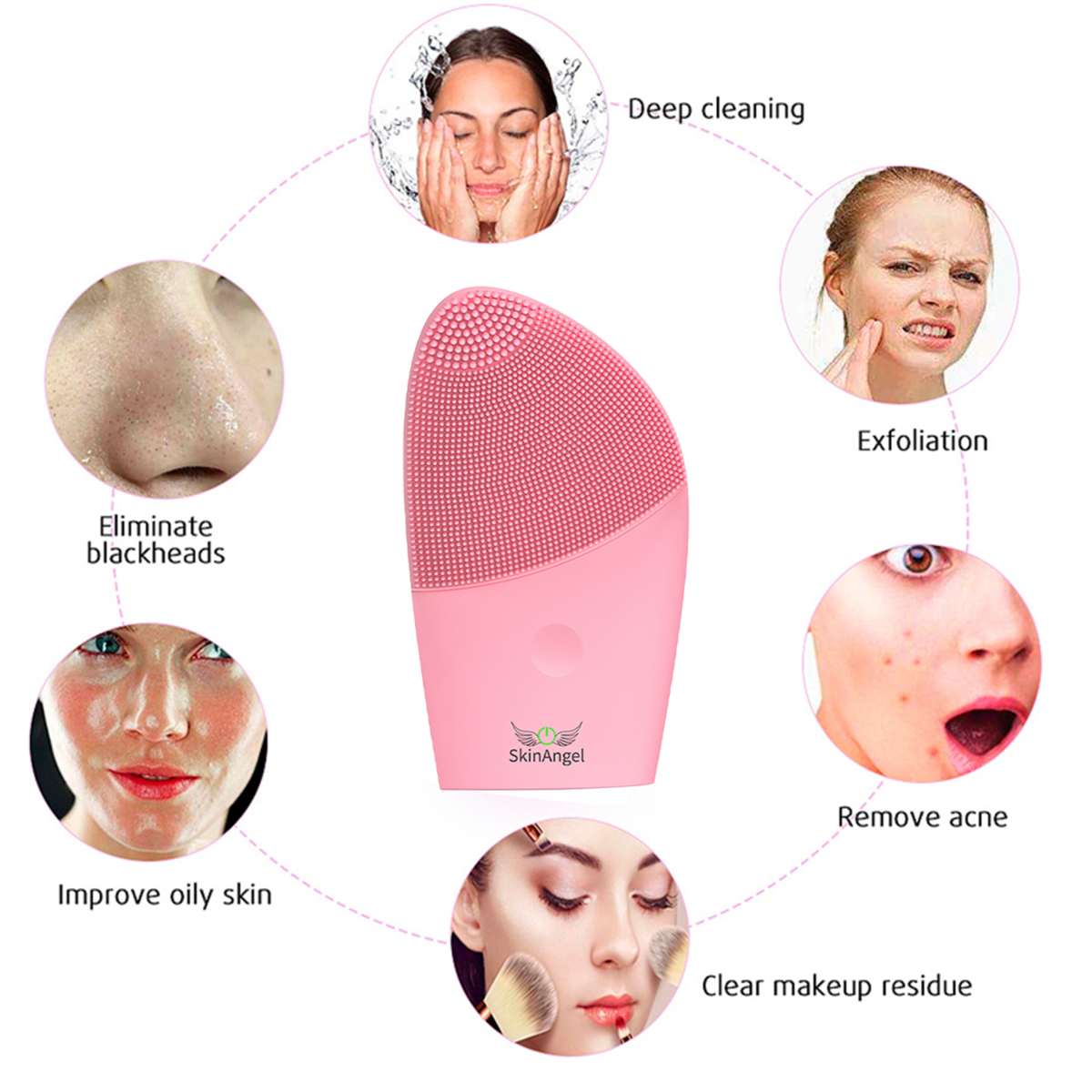 SkinAngel Electric Silicone Cleanser Massager Deep Face Wash et our eBay store