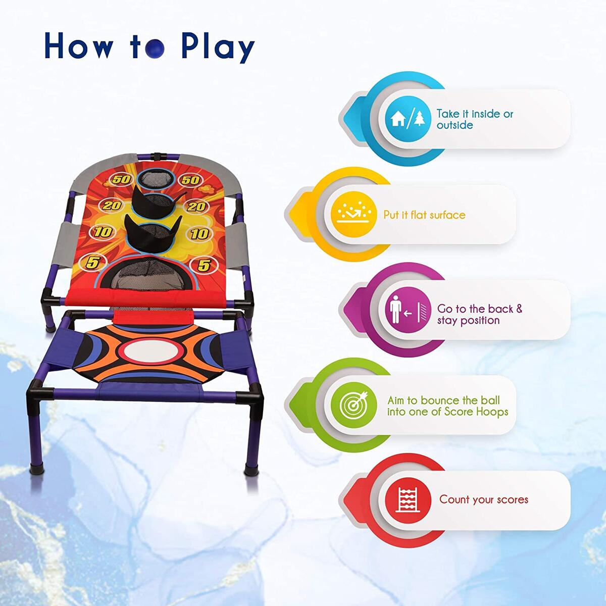 Point Games TrampShot Ball Toss Game, Indoor or Outdoor Arcade Sport Toy, Easy to Install, Fun and Entertaining - Recommended for Ages 5+