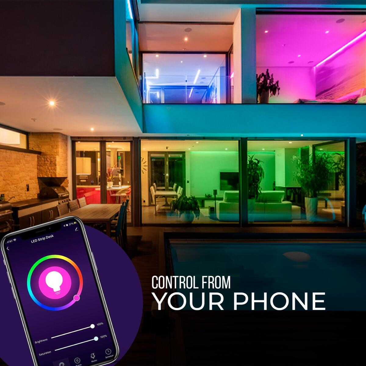 Bluehome Smart LED Strip Lights - Compatible with Amazon Alexa and Google Home