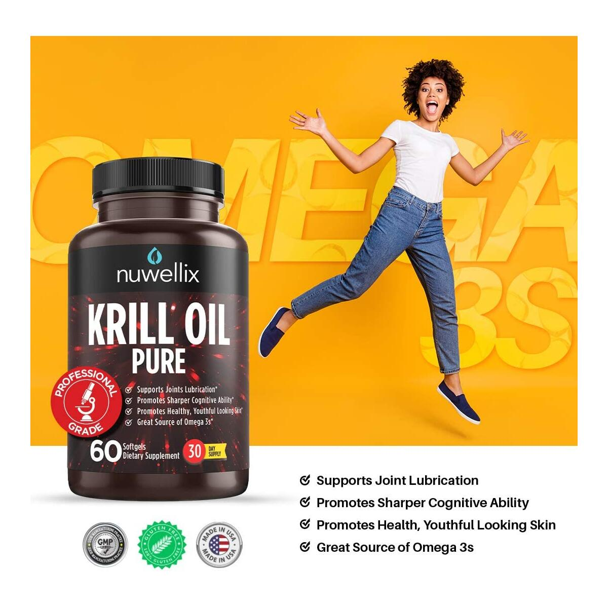 Krill Oil Supplement with Omega 3 EPA, DHA and Antaxanthin - Promotes Joint Lubrication and Youthful Looking Skin - High Potency - 60 Softgels