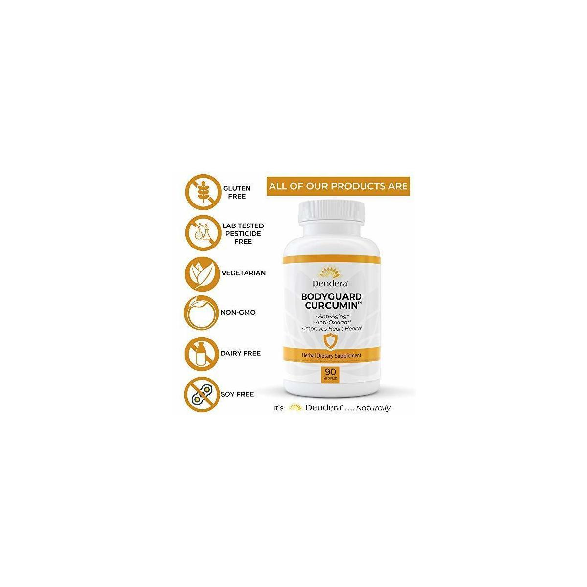 Bodyguard Curcumin with Black Pepper by Dendera Naturally- 95% Curcuminoids - Herbal Supplement for Pain Relief, Inflammation, Joint Support - Stearate-Free - 90 Capsules